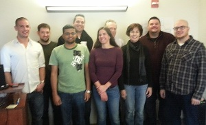 Back row L-R: Troy Hawk, Tech Ops; Bryon Derleth, Sales; Tim Hesson, Tech Ops; William Morris, IS Front row L-R: Blake Urmos, PM; Murugiah Avoodaiappan, DBA; Jennifer Samardak, IS; Karen Boyer, Sales; Conner Tolley, QA